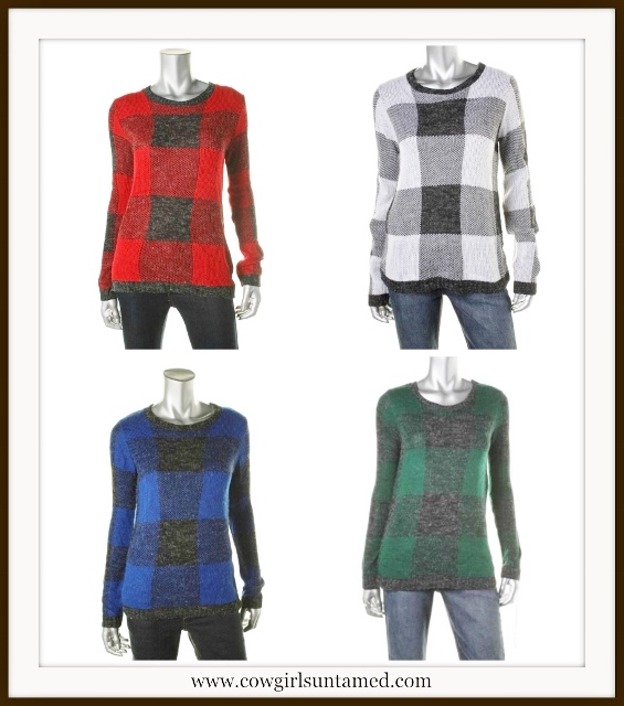 OH MG! SWEATER Plaid Designer Pullover Boatneck Sweater