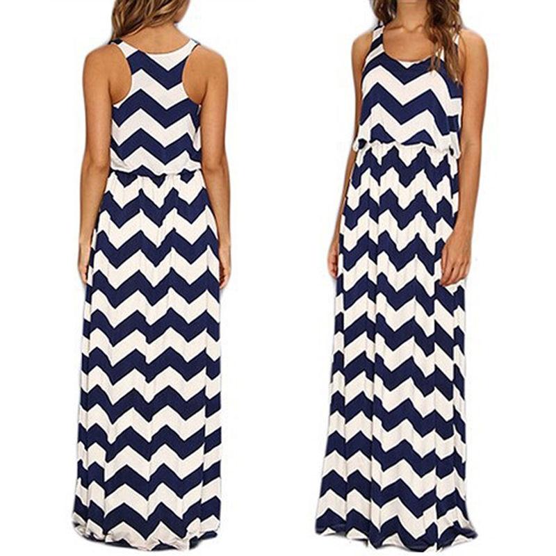 COWGIRL STYLE DRESS Chevron Stripe Zig Zag Blue White Racerback Long Maxi Dress