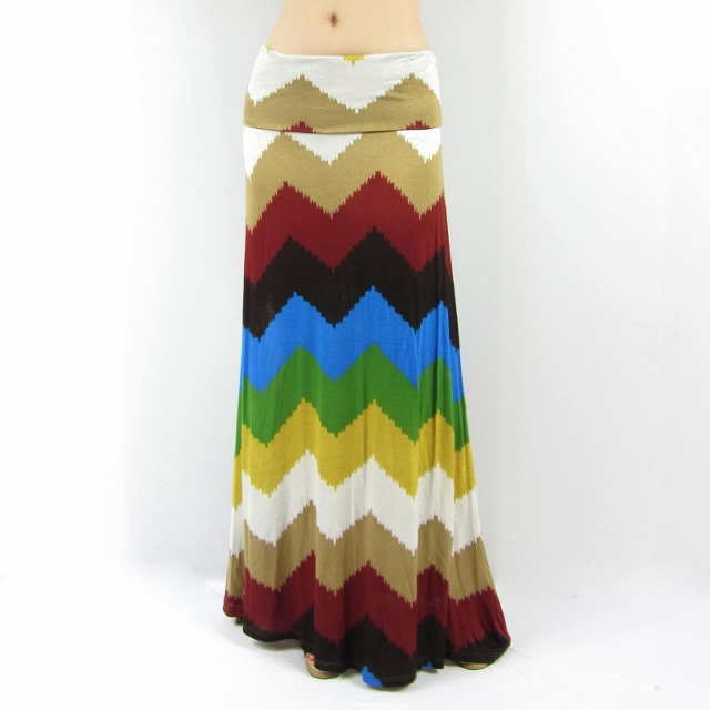 COWGIRL STYLE SKIRT Mocha Black Turquoise Beige Blue Chevron Stripe Western Maxi Skirt N' Dress