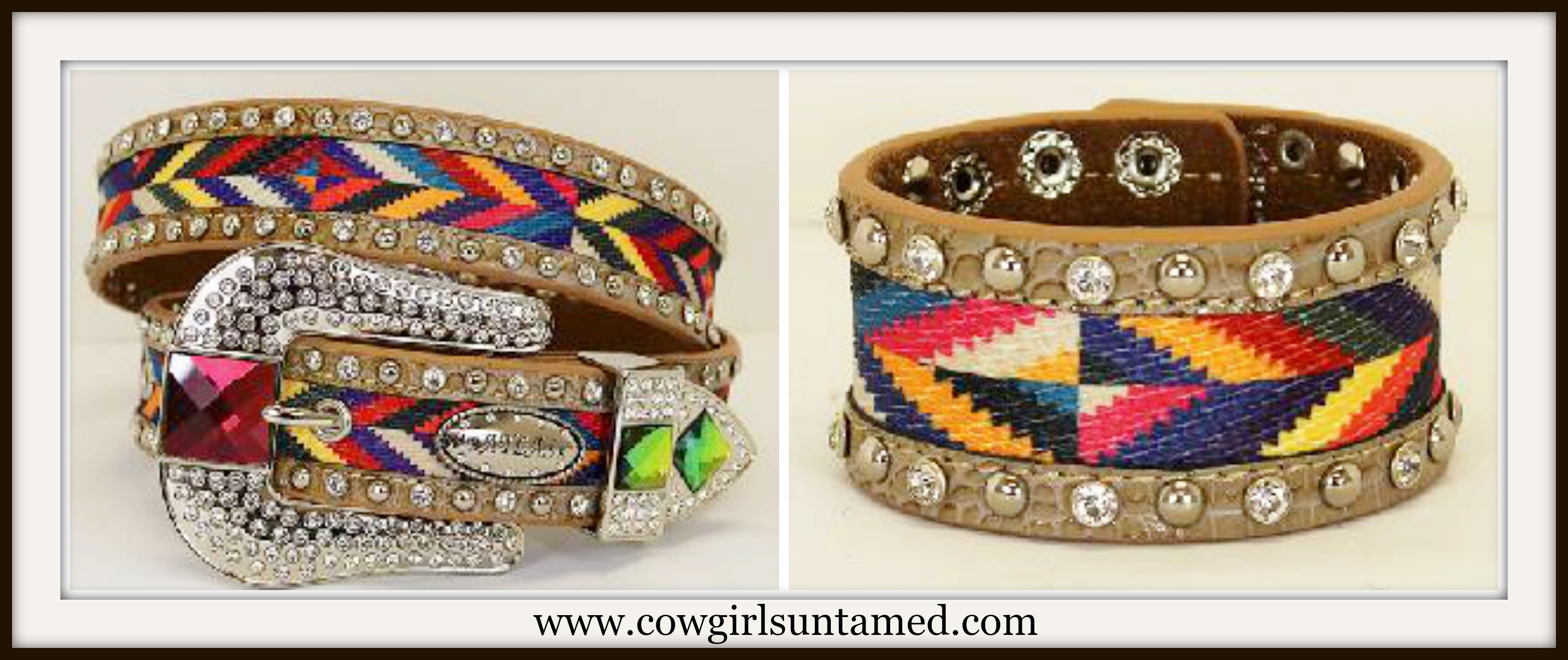 COWGIRL GYPSY BELT Multi Color Chevron Fabric and Tan Leather Belt with Cuff Option