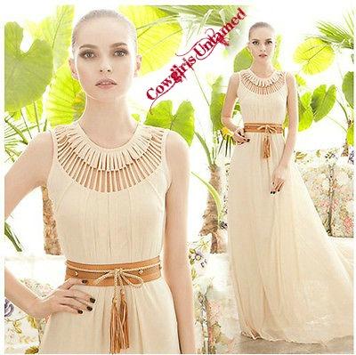 COWGIRL GYPSY DRESS High Cutout Collar Sleeveless Long Chiffon Maxi Dress