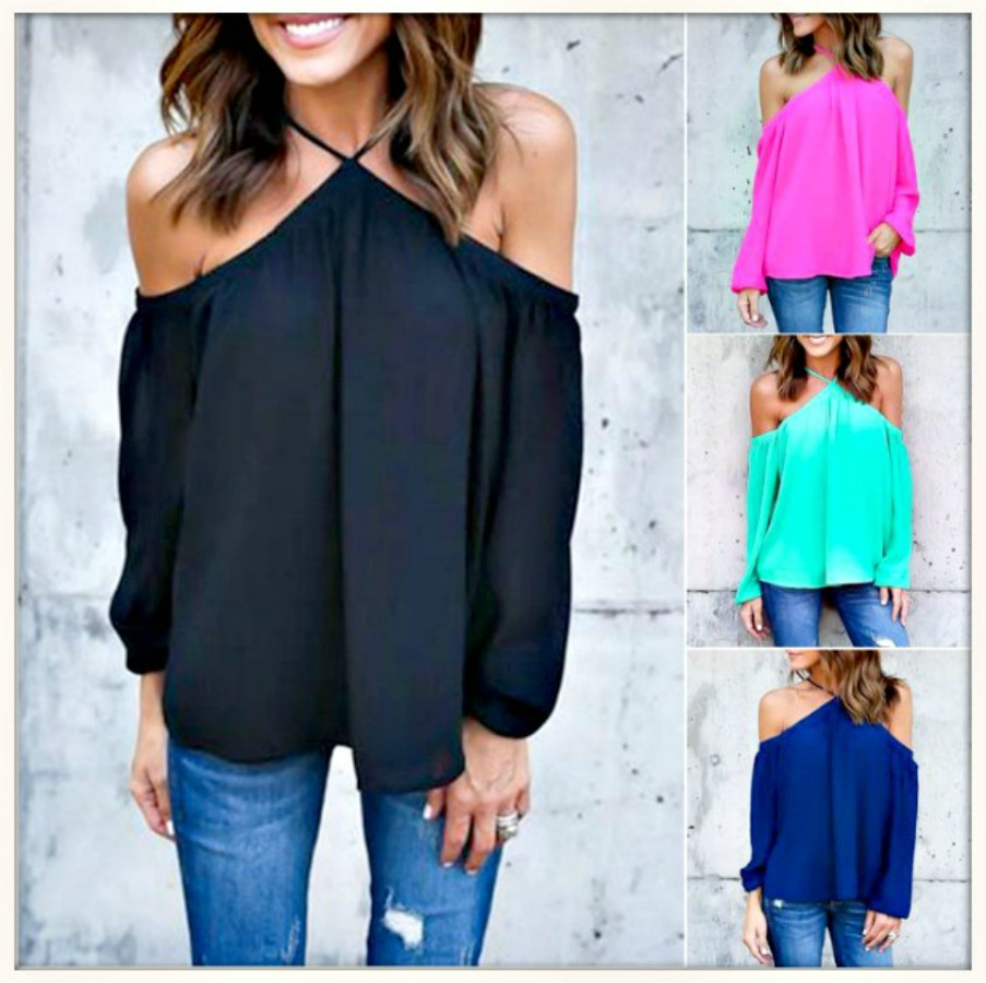 COWGIRL STYLE TOP Chiffon Strappy Off The Shoulder Long Sleeve Chiffon Top