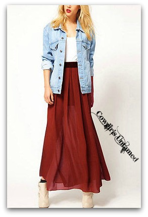COWGIRL STYLE SKIRT Lined Chiffon Long Maxi Western Skirt
