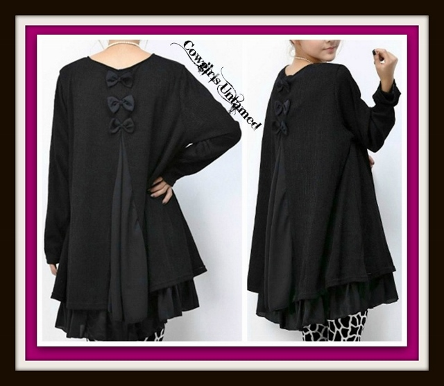 COWGIRL STYLE SWEATER Long Sleeve Layered Black Bow Sweater Dress Tunic Top Western Tunic Top