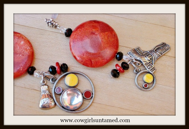 COWGIRL ATTITUDE EARRINGS Genuine Red Coral Crystal with Vintage Antique Silver Gun & Money Bag Charm Long Western Earrings