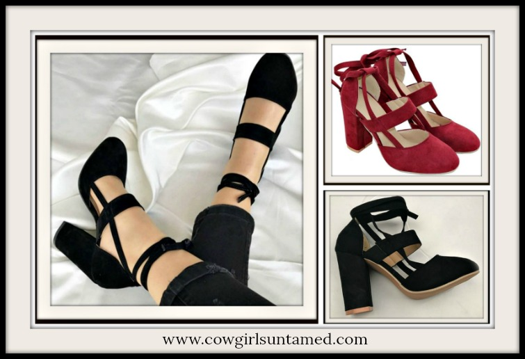 BOHEMIAN COWGIRL HEELS Suede Chunky Heel Boho Wrap Shoes