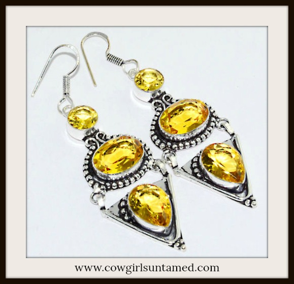 COWGIRL GYPSY EARRINGS Yellow Citrine Gemstone Silver Earrings