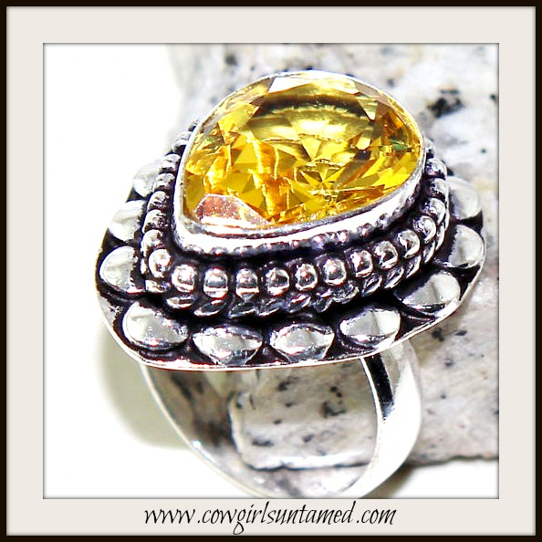 COWGIRL GYPSY RING Yellow Citrine Teardrop Gemstone Sterling Silver Boho Ring