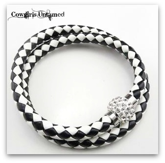 COWGIRL STYLE BRACELET Checkered Braided Leather with Clear Rhinestone Magnetic Closure