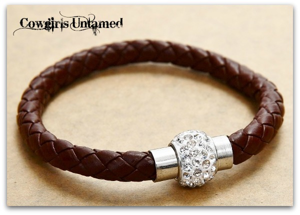 COWGIRL STYLE BRACELET Brown N Clear Rhinestone Silver Magnetic Closure on Brown Braided Leather Western Bracelet