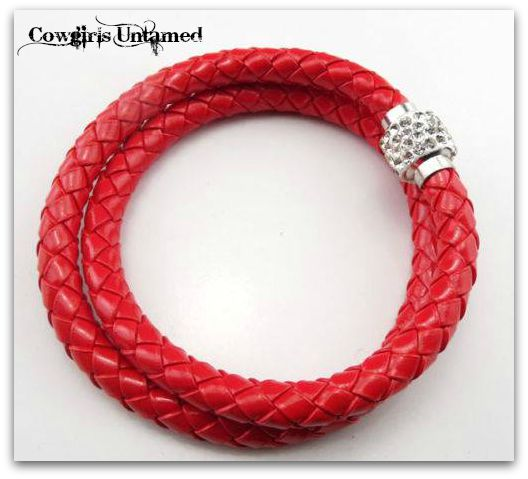 COWGIRL STYLE BRACELET Double Red Braided Leather Rhinestone Closure Bracelet