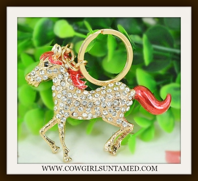 COWGIRL GLAM KEYTCHAIN Clear Rhinestone and Red Enamel Large Golden Horse Keychain