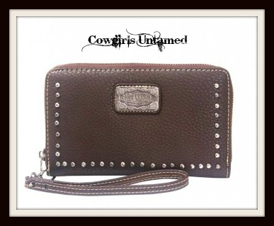 COWGIRL STYLE WALLET Coffee Brown Silver Studded Wallet Wristlet