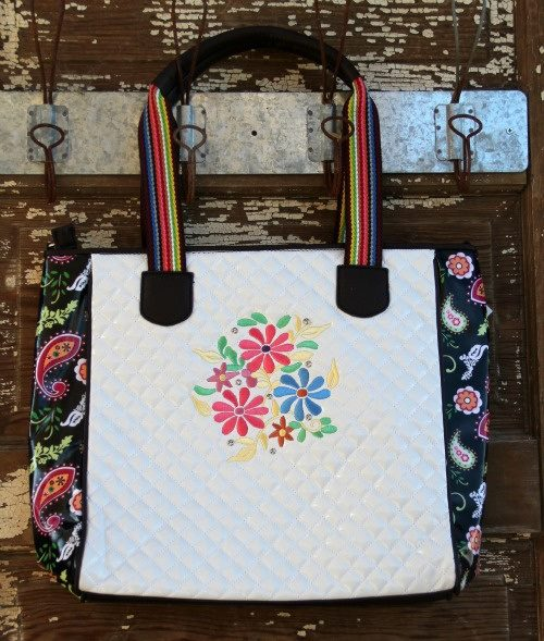 COWGIRL GYPSY TOTE Colorful Paisley Graphic Sides and Embroidered Hot Pink Yellow N Blue Flowers on White Quilted Western Tote BEACH BAG