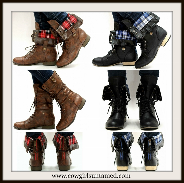 COUNTRY COWGIRL BOOTS Plaid Fabric Lined Zipper Back Foldover lace Up Boots