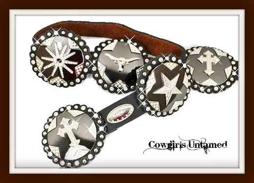 COWGIRL STYLE BELT Large Round Steer Star Boot Spur Rowel N Cross Concho Brown Leather Western Belt