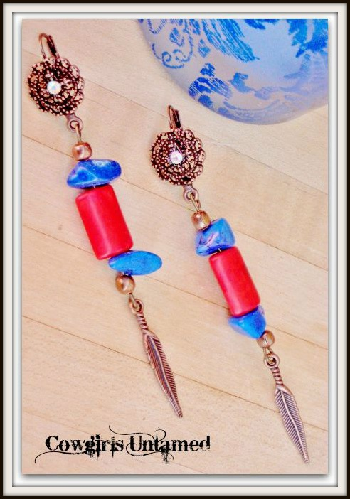 COWGIRL STYLE EARRINGS Vintage Red Turquoise Rhinestone Feather Charm Copper Long Dangle Western Earrings