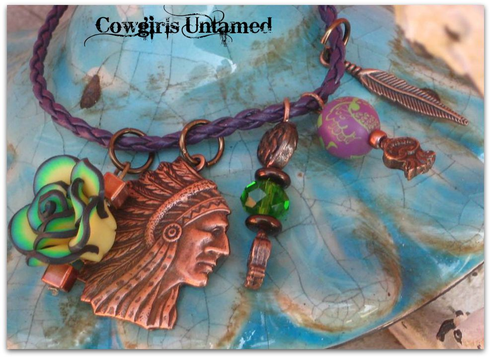 COWGIRL STYLE BRACELET Copper Indian Chief & Crystal Charms on Purple Leather Bracelet