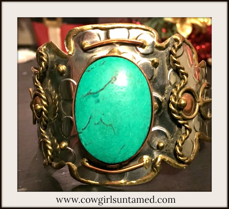 COWGIRL STYLE BRACELET Turquoise on Copper Brass Silver Cuff Bracelet