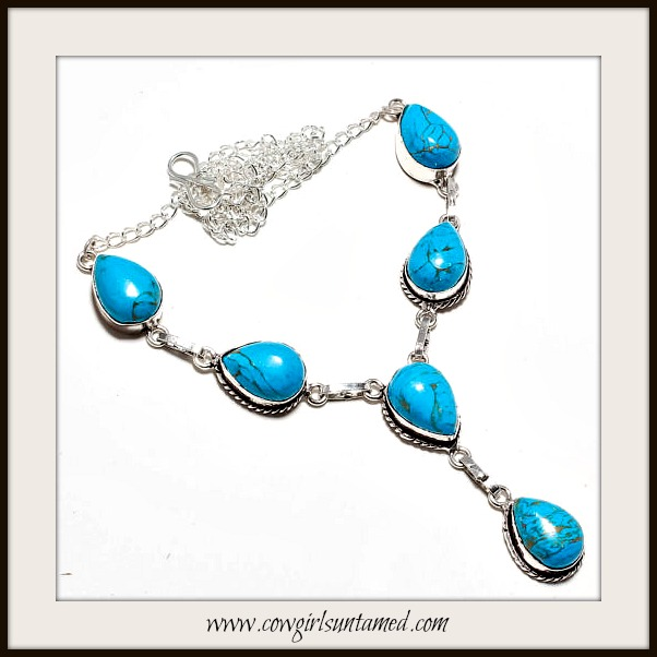 COWGIRL GYPSY NECKLACE Blue Copper Turquoise Sterling Silver Necklace