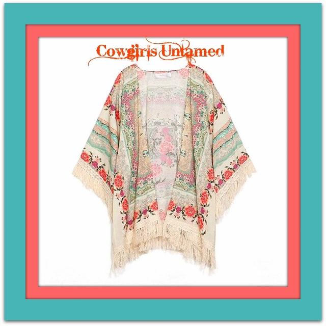 COWGIRL GYPSY JACKET Coral Aqua Fuchsia Vintage Floral Print Lace Crochet Fringe Kimono Open Jacket