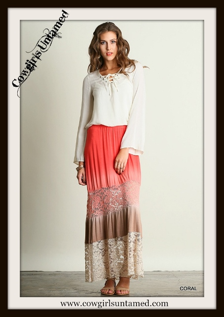 UMGEE LACE SKIRT Coral to Cream Ombre Lace Designer Boho Maxi Skirt