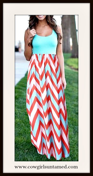 COWGIRL GYPSY DRESS Chevron Stripe Sleeveless Chiffon Aqua Maxi Dress