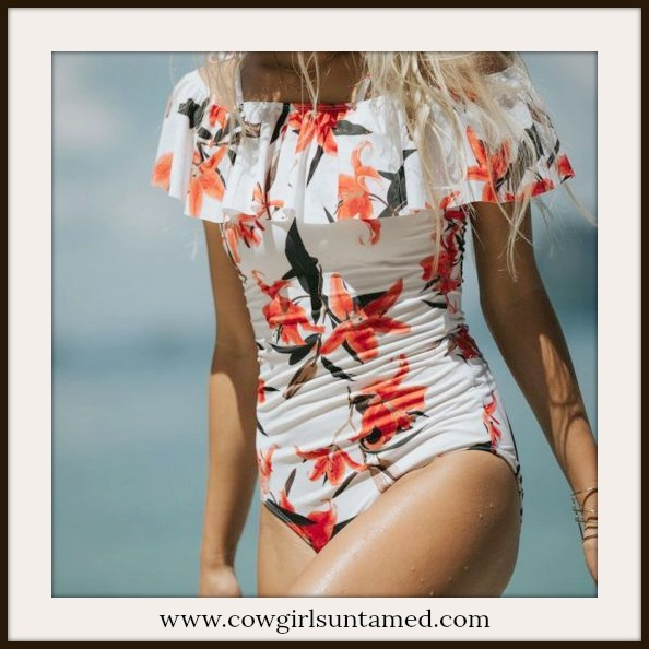 SUNDANCE COWGIRL SWIMSUIT Floral Off the Shoulder Flounce One Piece Bathing Suit