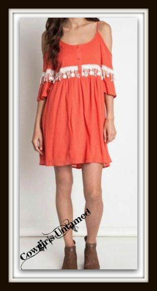 COWGIRL GYPSY DRESS Cream Lace on Coral Open Shoulder Boho Mini Dress