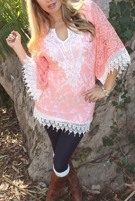 COWGIRL GYPSY TUNIC TOP Coral Lace White Crochet Trim Mini Dress Tunic Top Beach Coverup