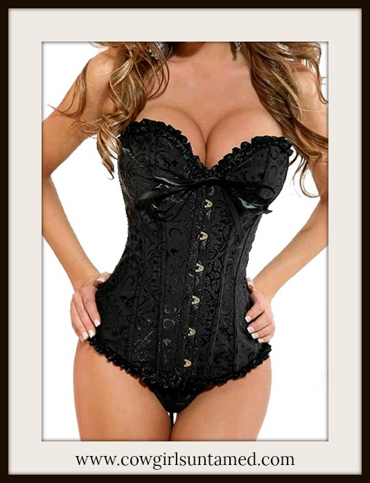 CORSET - Vintage Style Black Brocade Waist Cinching Boned Lace Up Back Western Corset with FREE G String