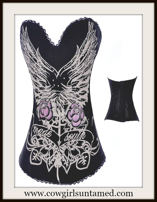 CORSET - Black Corset Tan Wing Pink Rose Rhinestone Corset Hook N Eye Closure in Back