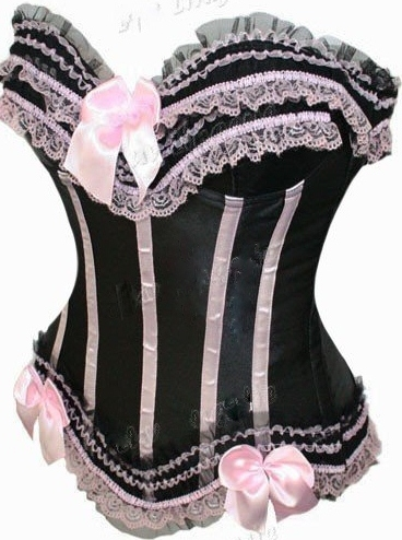 CORSET - WILD WEST Pink Lace on Black Satin Lace Up Back Corset Top