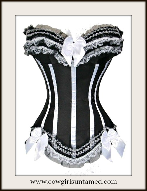 CORSET - Wild West Black Satin and White Lace with Lace Up Back Corset