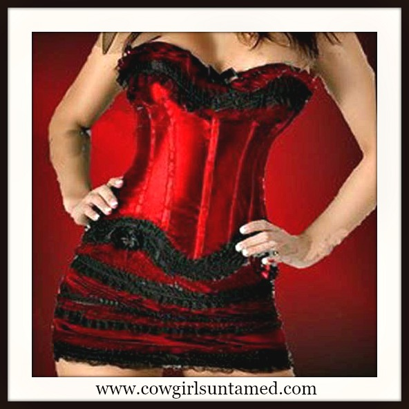 CORSET - Red with Black Lace Trim and Bow  Mini and G String