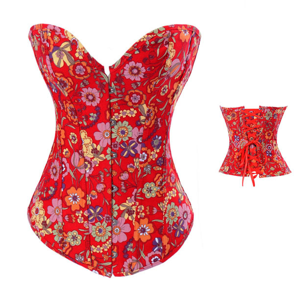 CORSET - Retro Red Floral Denim Lace Up Boned Western Corset Bustier TOP