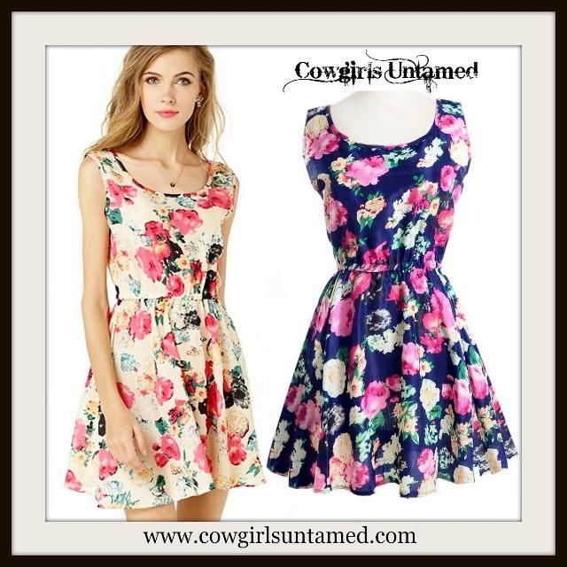COUNTRY COWGIRL DRESS Floral Chiffon Sleeveless Mini Dress