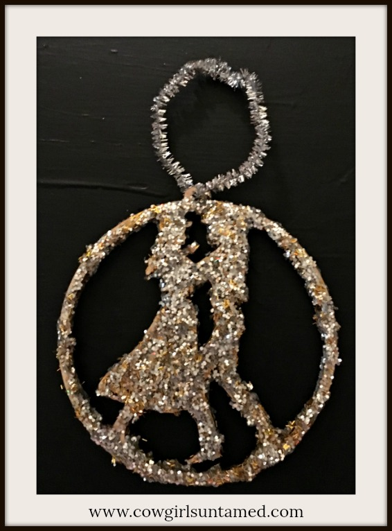 COWGIRL CHRISTMAS ORNAMENT Gold and Silver Glitter Cowboy and Cowgirl Dancing Laser Cut Wood Christmas Tree Ornament