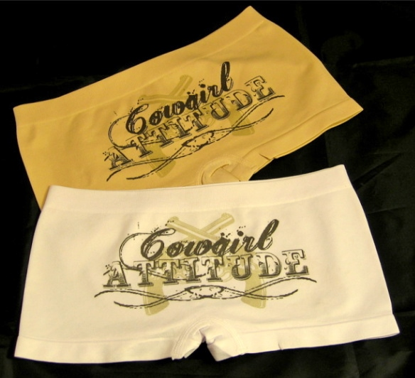 "COWGIRL ATTITUDE PANTY ""COWGIRL ATTITUDE"" with Sixshooter Pistols Low Rise Western Boy Short Panty"