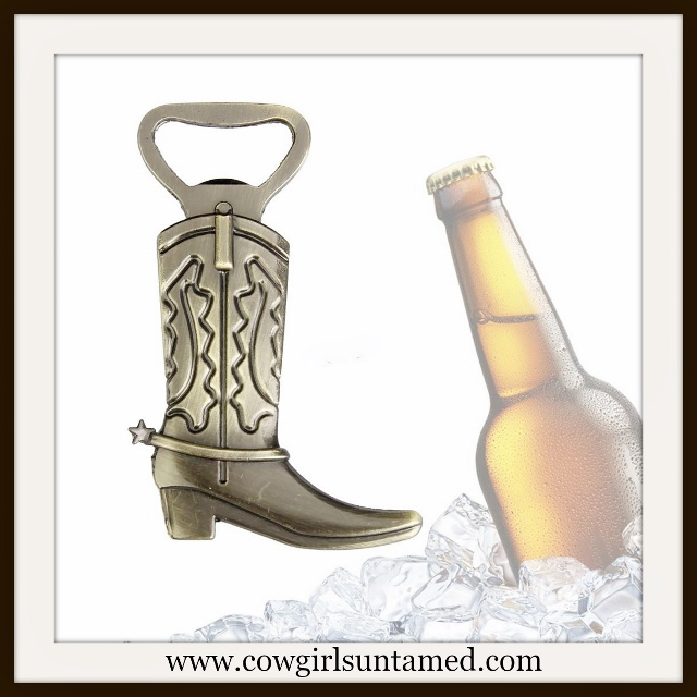COWGIRL HOME DECOR Vintage Bronze Cowgirl Boot Beer Opener