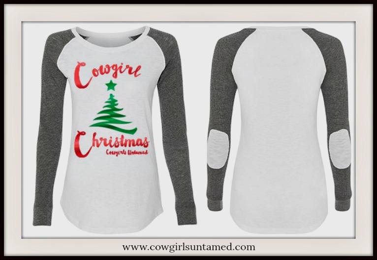 "COWGIRL CHRISTMAS TOP Metallic ""Cowgirl Christmas"" Green Tree White/Grey Long Sleeve Top"