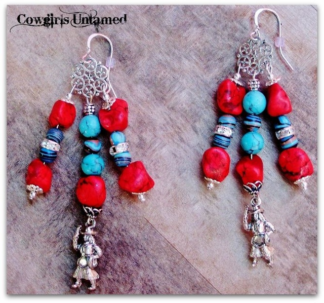 COWGIRL STYLE EARRINGS Red & Aqua Turquoise Rhinestone Sterling Silver Cowgirl Charm Long Chandelier Dangle Western Earrings