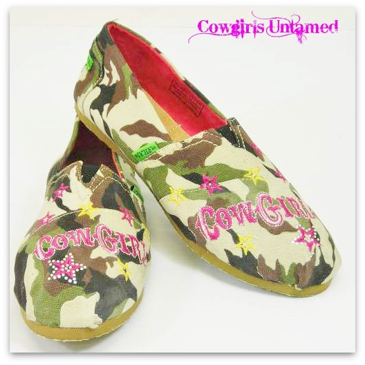 "CAMO COWGIRL SHOES Camo ""COWGIRL"" with Pink Rhinestone Star  Western Slip On Shoes"