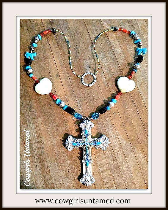 COWGIRL GYPSY NECKLACE Blue Crystal Cross Large Pewter Cross Pendant Turquoise Heart Horse Long Necklace Earrings Set