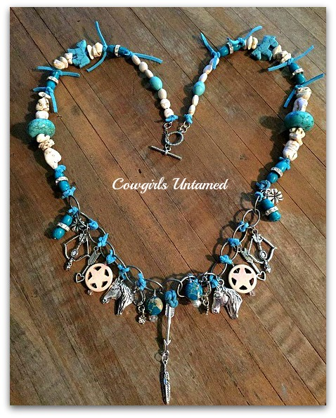 WESTERN COWGIRL NECKLACE White & Turquoise Stone & Leather Beads Silver Western Charm Necklace