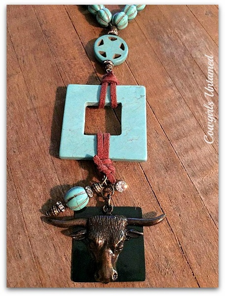 WESTERN COWGIRL NECKLACE Antique Bronze Steer Head Turquoise Charm Pendasnt on Star Turquoise Rhinestone Brown Leather Necklace