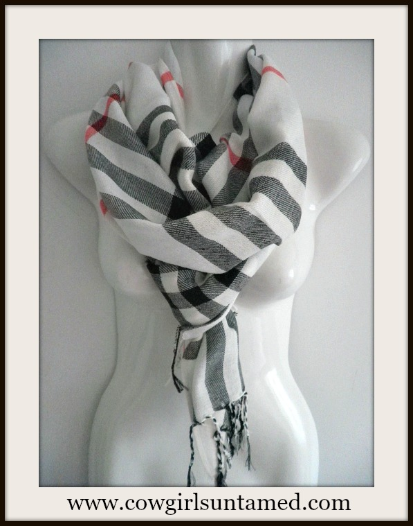 COWGIRL GLAM SCARF Cream, Black, Red Fringe Pashmina Scarf / Shawl