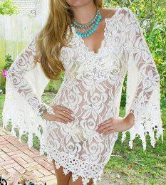 COWGIRL GYPSY TUNIC TOP Cream Lace Crochet Stretchy Fringe Beach Coverup Western Tunic Dress with FREE Slip