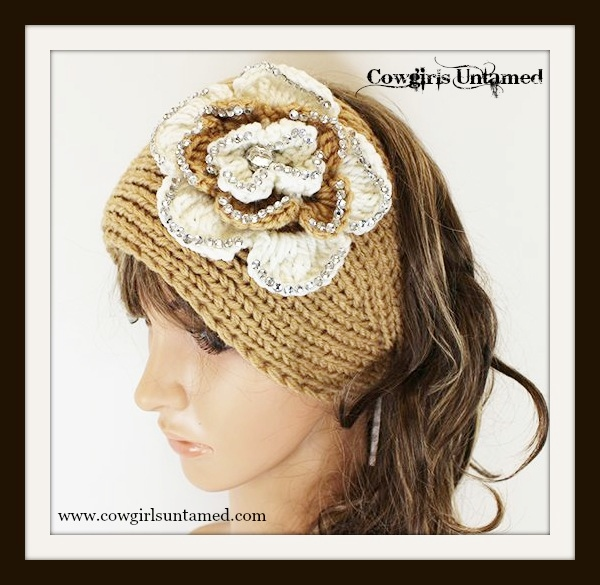 COWGIRL GYPSY HEADBAND Cream N' Khaki Sparkly Flowers on Khaki Wool Knit Headband