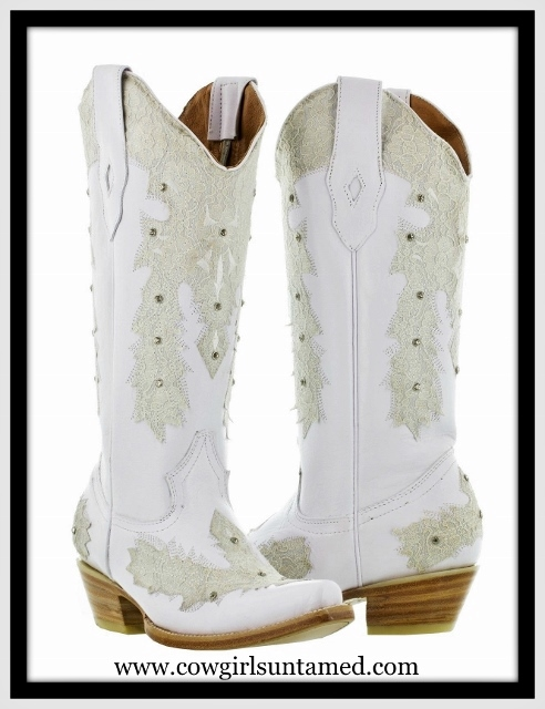WILD FLOWER BOOTS Lace & Rhinestones on White GENUINE LEATHER ...